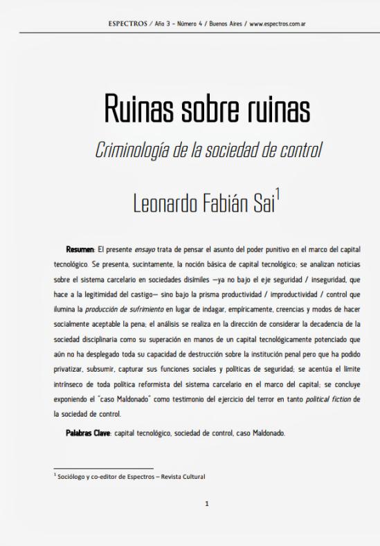 link al texto:Ruinas sobre ruinas. Criminología de la sociedad de control.